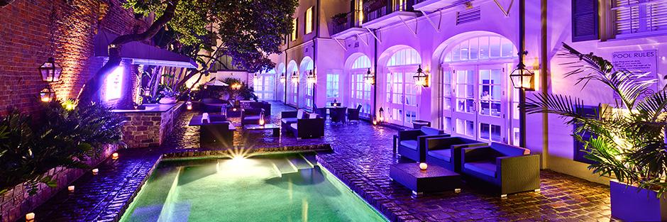 Hotel le marais night pool hero