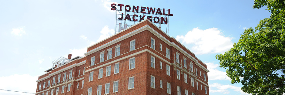 Stonewall jackson hotel and conference center exterior sign hero