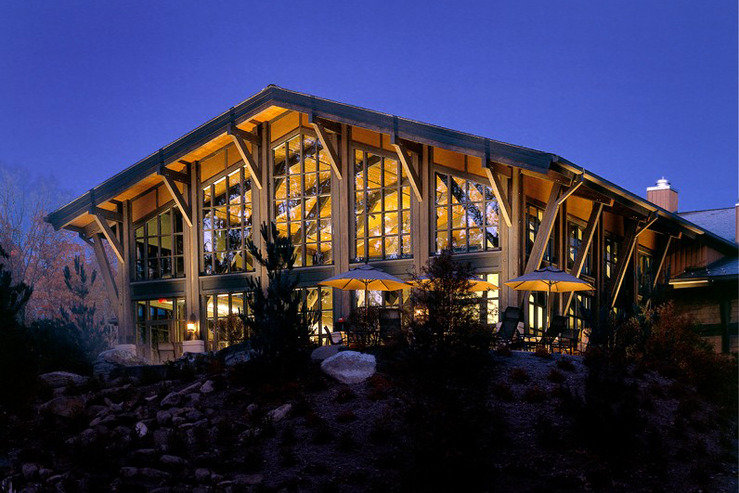 The lodge at woodloch pool building at night hpg
